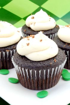Guinness and chocolate cupcakes with Jameson chocolate ganache filling and Bailey's frosting. Yum!!!