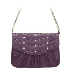 "Rae-Purple Grace Adele Clutch    Rae combines a simple shape with tough silver studs — perfect when you want to be elegant with an edge.     Fits inside the exterior pocket on your favorite Grace Adele bag.     • Faux leather  • 9"" L, 7"" H  • Detachable chain and 27.25"" faux leather strap    https://myfashions.graceadele.us/GraceAdele/Buy/ProductDetails/10613"