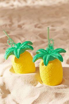Becher für unterwegs im Ananasdesign mit Strohhalm