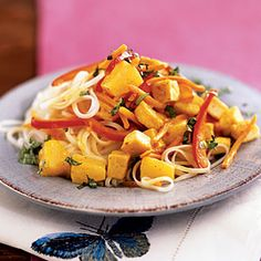 The flavors in this dish may be exotic for a weeknight dinner, but it's fast (about 15 minutes) and calls for common pantry ingredients. Pineapple and red bell pepper provide a balance of sweet and savory while coconut milk and curry powder combine for a creamy, spicy sauce. This doesn't have to be a vegetarian dish, either; chicken or pork can replace the tofu with almost no change in cooking.View Recipe: Curried Tofu