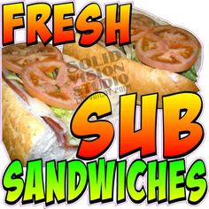 """7"""" Sub Sandwich Restaurant Bar Concession Trailer Decal"""