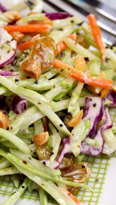 Broccoli Slaw Salad with Honey-Mustard Yogurt Dressing