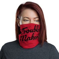 Red & Black Trouble Maker - Neck Gaiter #FaceCover #bandana #face #NeckWarmer #headband #woman #wristband #man #NeckGaiter #accessories Tartan Plaid Scarf, Plaid Blanket Scarf, Burgundy Scarf, Grey Scarf, Chunky Infinity Scarves, Oversized Scarf, Circle Scarf, Hypebeast, Womens Scarves