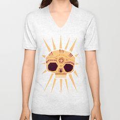 sugar skull Unisex V-Neck by Yetiland - $24.00