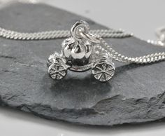 Vintage Pumpkin Carriage Sterling silver necklace,Gifts for her. $18.00, via Etsy.