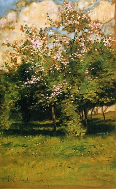 ☼ Painterly Landscape Escape ☼ landscape painting by Frederick Childe Hassam - Blossoming Trees
