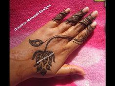 YouTube simple lotus flower henna mehndi design
