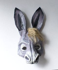Your place to buy and sell all things handmade Paper Mache Animals, Clay Animals, Donkey Mask, Mules Animal, Cute Donkey, Paper Mache Mask, Animal Masks, Masks Art, Midsummer Nights Dream