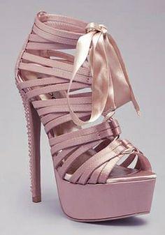 Powder pink satin high heels