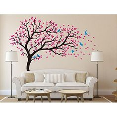 """Large Wall Vinyl Tree Forest Decal Removable Sticker with Birds 96"""" (8 Feet) Tall X 113"""" Wide #1111 (Matte Black)"""