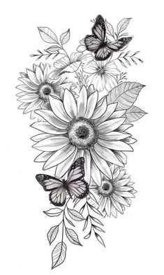 Sunflower Tattoo Sleeve, Sunflower Tattoos, Sunflower Tattoo Design, Colorful Sunflower Tattoo, Hibiscus Tattoo, Sunflower Drawing, Leg Sleeve Tattoo, Flower Sleeve, Butterfly Drawing