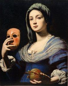 Lorenzo Lippi - Woman Holding a Mask and a Pomegranate (1606-1665)