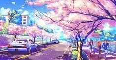 Kết quả hình ảnh cho anime cảnh hoa anh đào