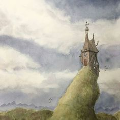 A beautiful #fantasy #watercolor #illustration by Emily Hare (@artbyemilyhare) of what appears to be a humble looking wizards keep perched upon a steep hilltop. The scenery is pleasant & calming and I can just picture the clouds striate the sky slowly drifting along together like a murky river while the birds flutter about fighting a rather strong wind.  What we can see of the keep is modest and aesthetically pleasing. The windows which likely provide an incredible view are nice to look at…