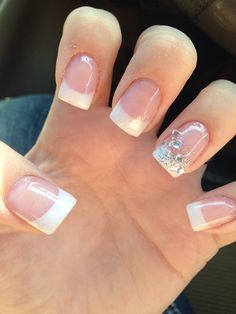 francesa 50 French Nails Ideas For Every Bride French manicure has always been the most popular among the brides because it's timeless, elegant and fits any style. Should it be classic? Wedding Nails For Bride, Bride Nails, Wedding Nails Design, Prom Nails, Glitter Wedding, Wedding Dress, Wedding Hair, Nail Wedding, Wedding Pedicure