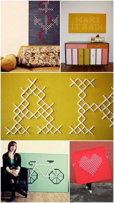 Cross-stitching art by Jessica Decker