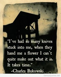 Charles Bukowski quotes This is somewhat how i think Chrissy feels. She seems unsure of the gentle and kind touch of my hand.