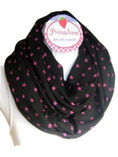 Loop, Schlauchschal, Wickelschal, Circle scarf, Sommerloop  Sehr schöner Loop Schlauchschal in schwarz mit süßen Sternchen in pink in Neonlook. D...