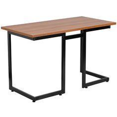 Cherry Computer Desk with Black Frame