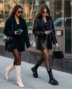 Black Leather Blazer, Leather Jacket Outfits, Blazer Outfits, Fashion 2020, Daily Fashion, Fashion Beauty, Style Fashion, Celebrity Outfits, Aesthetic Clothes