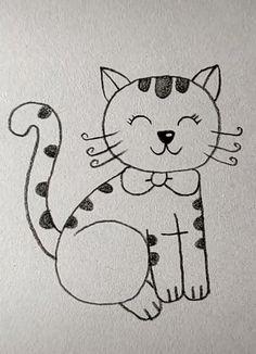 Cat Drawing Easy Drawing Cat drawing Drawing for kids Easy Outline Drawings, Pencil Art Drawings, Art Drawings Sketches, Cute Drawings, Easter Drawings, Easy Doodles Drawings, Easy Drawings For Beginners, Easy Drawings For Kids, Drawing For Kids