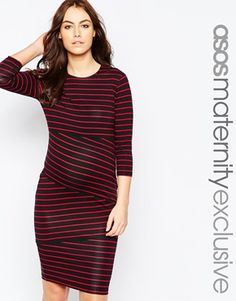 ASOS Maternity Body-Conscious Dress In Cutabout Stripe
