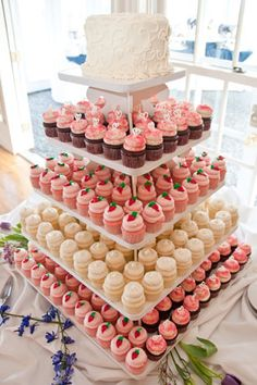 White Wedding Cakes Lovely cupcake tower with coral and white wedding cupcakes plus a white cake on top for the slicing! Love this idea, just diff colors. Small Wedding Cakes, Wedding Cakes With Cupcakes, Pink Cupcakes, Wedding Desserts, Cupcake Cakes, Food Cakes, Cupcake Tower Wedding, Cupcake Towers, Cake Fondant