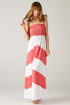 Malibu Chevron Dress in Coral