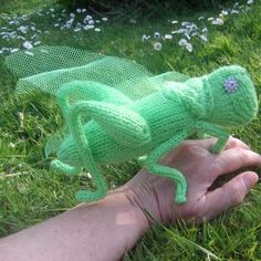 Knitted grasshopper, handmade grasshopper collectable, knitted insect