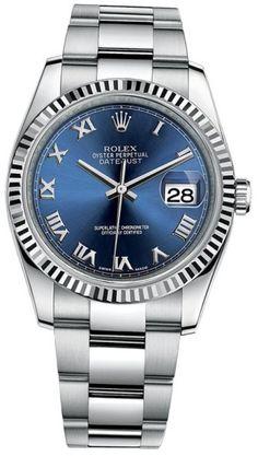 Rolex Datejust 36 Steel & White Gold Oyster Bracelet Watch Blue Roman Dial 116234