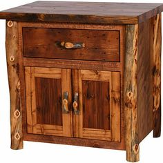 Rustic Small Dresser Chest With Single Drawer And Door On Below