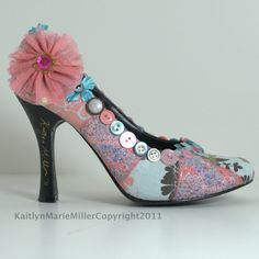 "Shoes- hand embellished with cotton fabric, lace, and buttons in shades of pink and blue with floral theme. Size 7m- ""Step Into My Garden"""