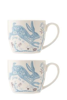 Buy Set Of 2 Teal Hare Mugs online today at Next: Hong Kong
