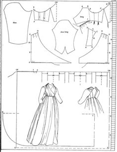 1797 pattern for an open gown in Nora Waugh's The Cut of Women's Clothes 1600-1930