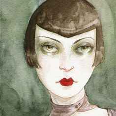 "Art Deco Flapper Vamp ACEO ""The Shadowy Girl"" Limited Edition Print by Amy Abshier Reyes 4/30"