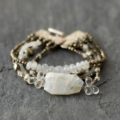 """Graduated strands of quartz, pyrite, and sterling silver form this handmade statement bracelet from Connecticut designer Susan Roberts.- Quartz, pyrite, sterling silver- Toggle clasp closure- Handmade in the USA1.25""""W, 7.25""""L"""
