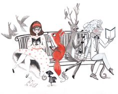 Elwood's Uncomfortable Stare Artwork by Christina by mangoseed Man Go, Deer, Fox, Birds, Mark Twain, Illustration, Handmade Gifts, Artwork, Etsy