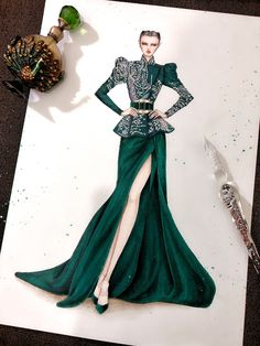 Fashion Drawing Dresses, Fashion Illustration Dresses, Fashion Illustrations, Dress Design Sketches, Fashion Design Drawings, Fashion Sketches, Stylish Dresses, Formal Dresses, Floral Theme
