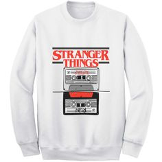 Stranger Things, Audiotape, Sweat unisexe Stranger Things sweat,... ($31) ❤ liked on Polyvore featuring tops, hoodies, sweatshirts, unisex tops, patterned sweatshirts, mesh top, heather grey sweatshirt and white tops