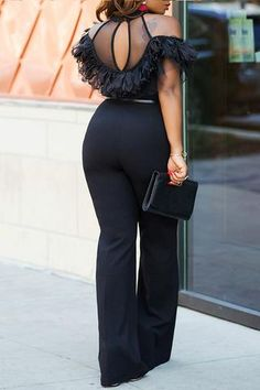 Jumpsuit With Sleeves, Black Jumpsuit, New Outfits, Casual Outfits, Fashion Outfits, Long Jumpsuits, Jumpsuits For Women, Palazzo, African Fashion Dresses