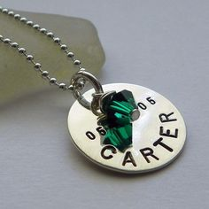 Personalized One Disc Mother's Necklace  hand stamped by PunkyJane, $35.00