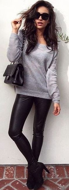 #popular #shay #mitchell #outfits | Grey Sweatshirt + Black Leather Pants