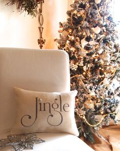 White with charcoal grey/silver shimmer Burlap Christmas jingle pillow, silver mini bell