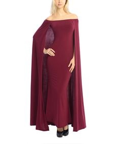 Look at this Burgundy Off-Shoulder Cape Maxi Dress on #zulily today!
