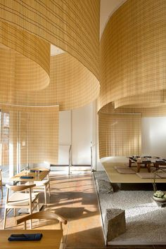 kengo kuma hangs sudare screens above japanese restaurant in portland