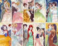I like how she drew the couture dresses for the princesses but also drew the princes. :D