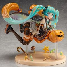 Hatsune Miku is getting in the Halloween spirit! Hatsune is flying over a display base full of candy and holding a jack-o-lantern. This Hatsune Miku Trick or Miku Statue measures approximately 6 long and is made of plastic. Vocaloid, Nendoroid, Anime Dolls, Action Figures, Anime Figures, Anime Merchandise, Hatsune Miku, Anime Toys, Anime Figurines