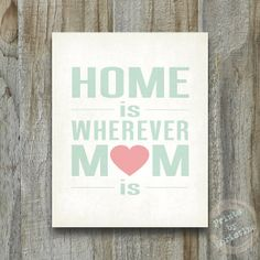 Home Is Wherever Mom Is Mothers Day Art Print Love Heart Vintage Distressed Modern Rustic Poster Coral Green
