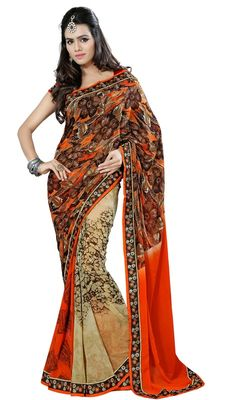 Vogue and trend would be at peak of your attractiveness as soon as you attire this beige and orange color georgette printed sari. The block print and lace work looks chic and ideal for any occasion. Upon request we can make round front/back neck and short 6 inches sleeves regular saree blouse also. #SuperbOrangeFloralPrintedSari