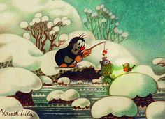 Jak Zdeněk Miler zakopl o krtinu a co z toho vzniklo - Aktuálně. Children's Book Illustration, Illustration Children, Mole, Cartoon, Disney Characters, Drawings, Artwork, Pictures, Children Books
